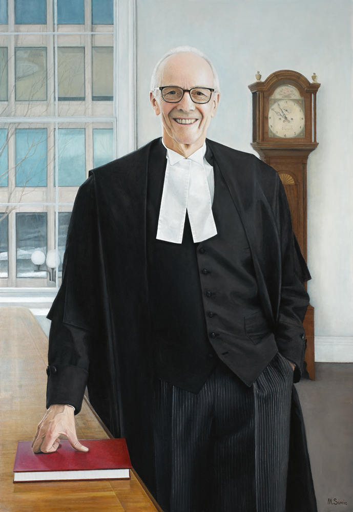 "Oil on Canvas, 50"" x 40"", The portrait was commissioned by The Law Society of Upper Canada and it is permanently exhibited in Osgude Hall in Toronto"