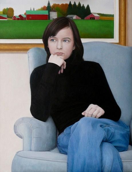 "Oil on Canvas, 40"" x 30"""